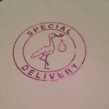 Ready to ship!  Metallic pink foil stamped storks adorn these white baby shower LUNCHEON napkins.  Pack of 25.