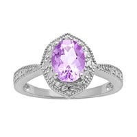 Sterling Silver Amethyst & Diamond Accent Marquise Ring (Purple)