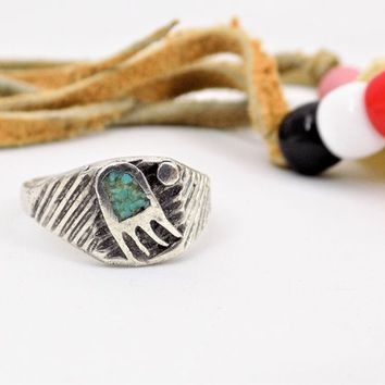 Native American, Zuni Bear Claw, Inlay Turquoise Ring, Size 6 1/4, Sterling, Vintage Rings