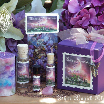 Faerie Worlds Magickal Altar Kit . With Candle, Faerie Dust, Spell Oil, Necklace, More . Otherworldly Faerie Sight, Joy, Play, Enchantment