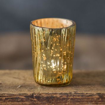 Set of 4 Tapered Textured Mercury Glass Votive Holders