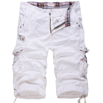 High quality  Men Cotton Cargo Shorts New summer Male Solid multi-pocket Work Short Pants Loose Tooling shorts Size 38