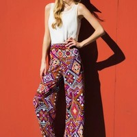 Orange & Pink Tribal Printed Palazzo Pants