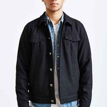Kill City Leather Collar Wool Trucker Jacket- Black