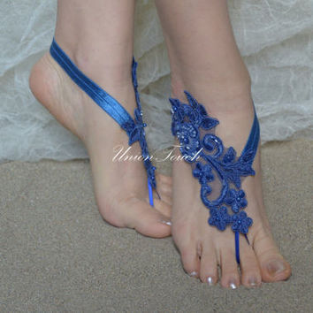 Royal Blue Barefoot Sandals Beach Wedding Lace Anklet Sandals Lace Wedding Shoes Royal Blue Beach Shoes Beach Sandals Bridal Sandals Bleu