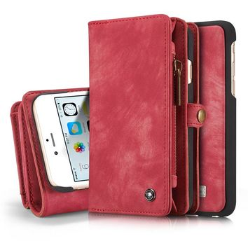 For iPhone 6 6s Phone Bag Brand CASEME Zipper Wallet case Leather cover Flip book Case For iPhone 6 plus 6S Plus Coque