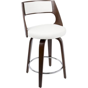 Cecina Fixed Height Mid-Century Modern Counter Stool, Cherry & White