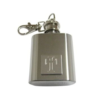 Silver Toned Etched Gothic Cross 1 Oz. Stainless Steel Key Chain Flask