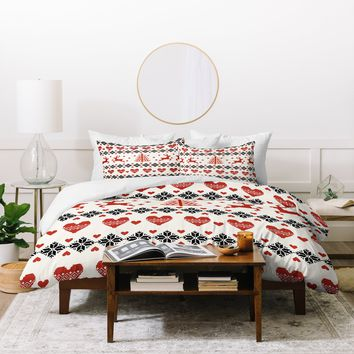 Natt Knitting Red Deer White Hearts Duvet Cover