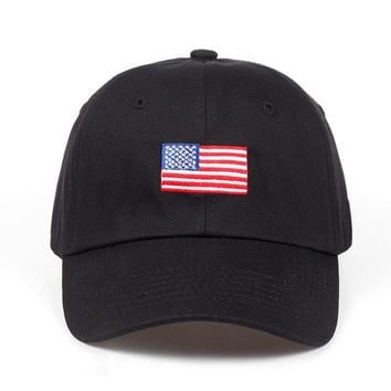 United States of America Black Embroidered Cotton Dad Hat