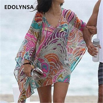 DKLW8 Beach Dress Sexy Cover up Chiffon Bikini Kaftan Pareo Sarongs Swimwear Tunic Swimsuit Bathing Suit Cover Ups Robe De Plage #Q244