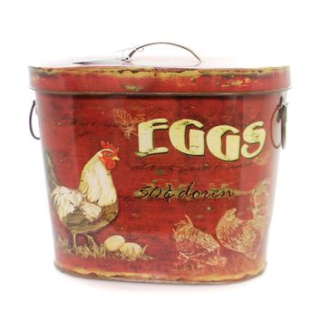 Home & Garden TIN CONTAINER W/ROOSTER & EGGS Decorative Use Only De1939 Large