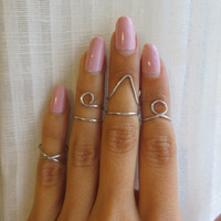 Trendy Silver Above the Knuckle, Adjustable Mid Midi Finger Rings wire wrap - Choose 2