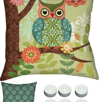 "Manual Woodworkers SLFROW Forest Owls 18"" x 18"" Climaweave Outdoor / Indoor Pillow with 6-Pack of Tea Candles"