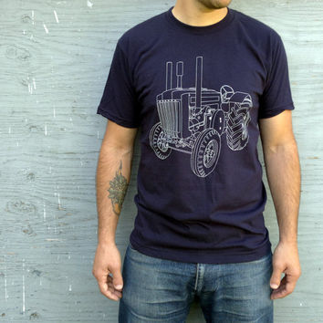 Tractor T Shirt Old School John Deere Navy Blue Small, Medium, Large, Extra Large