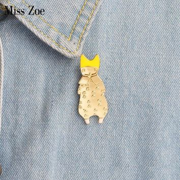 Trendy Miss Zoe Cute Girl Cat kitten ear Animal Brooch Button Pins Denim Jacket Pin Badge Cartoon jewelry Gift for Kids Daughter AT_94_13