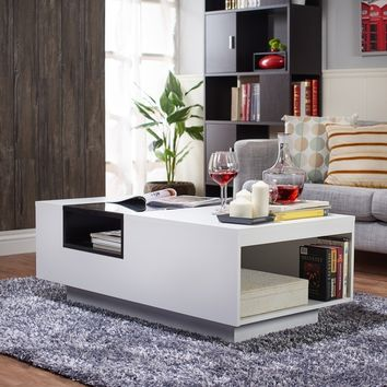 Furniture of America Kassalie Modern Two-tone White/Black Glass Top Coffee Table | Overstock.com Shopping - The Best Deals on Coffee, Sofa & End Tables