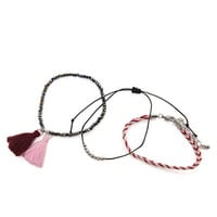 With Love From CA Braided Tassel Bracelet Pack at PacSun.com