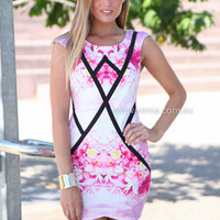 WONDERLAND DRESS , DRESSES, TOPS, BOTTOMS, JACKETS & JUMPERS, ACCESSORIES, 50% OFF SALE, PRE ORDER, NEW ARRIVALS, PLAYSUIT, COLOUR, GIFT VOUCHER,,Pink,Print,BODYCON,SHORT SLEEVE,MINI Australia, Queensland, Brisbane
