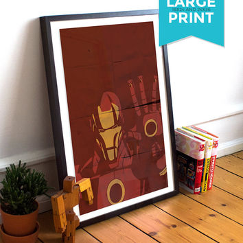 Iron Man Avengers Poster Illustration Marvel Comics Tony Stark Giclee Large Poster Print on Satin or Cotton Canvas Superhero