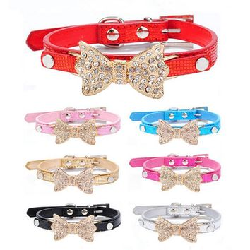 PET COLLAR BLING CRYSTAL BOW LEATHER CHOKER NECKLACE DOG CAT PET ACCESSORIES.