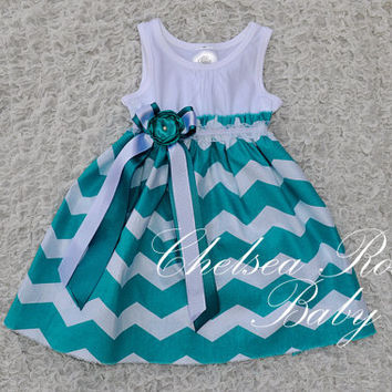 Gorgeous Chevron Baby and Toddler Dress, Baby Girl Dress, Teal Chevron print, Designer Summer Dress, Baby Dress