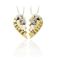 2pcs THELMA LOUISE Pendant Necklaces Guns Heart Friendship Adventure Freedom Best Friends Forever Creative Girl Keepsake Gift