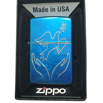Zippo Custom Lighter - Dove with Olive Branch Released by Hands - Regular Cerulean Blue 24534-MP400813