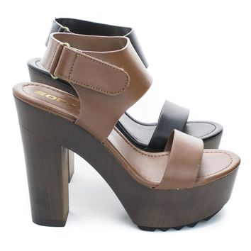 Kadence Open Toe Ankle Buckle Cuff Faux Wooden Platform Chunky Heel Sandals