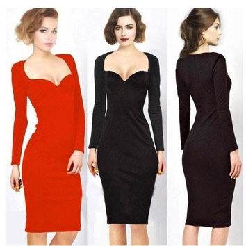 Newest Spring Autumn Winter Women Long Sleeve V-Neck Sexy Dress Ladies Evening Party Pencil Bodycon Sheath Dresses S-XXL#JY0136 = 1956698628