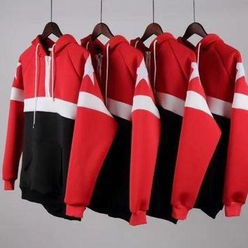 CREYD5W Givenchy new five-star red and black spell space cotton air layer hooded sweater couple sweater