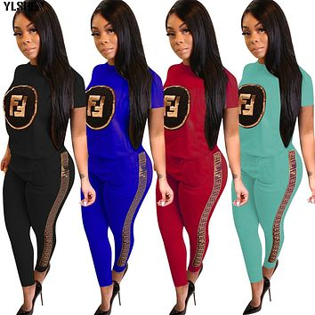 Plus Size 2 Two Pieces Sets Casual Vogue Sequined Sweatshirts Jogger Pants Suits Women Clothing Outfits Tracksuits Tops + Pants