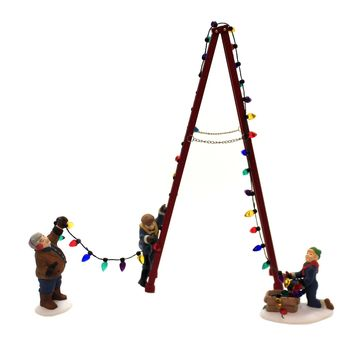 Department 56 Accessory TOWN TREE TRIMMERS SET / 4 Retired Christmas In City Citc 55662