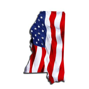 Mississippi Waving USA American Flag. Patriotic Vinyl Sticker