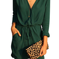 Dark Green Deep V Elastic Waist Dress