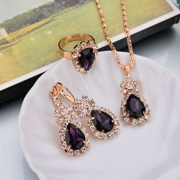 Shiny Jewelry Gift Stylish New Arrival Luxury Accessory Water Droplets Earrings Ring Set Necklace [302110244905]