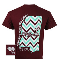MSU Mississippi State Bulldogs State Chevron Girlie Bright T Shirt