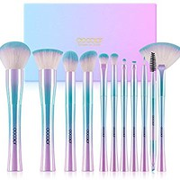 Docolor Makeup Brushes,11Pcs Fantasy Makeup Brush Set Foundation Powder Contour Eyeshadow Eyebrow Fan Cosmetic Brushes Kits