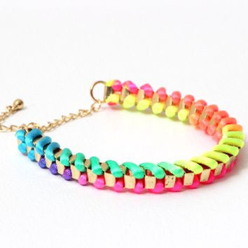 Neon Rainbow Nylon Bracelet BC22 Chain Linked Braided Fluorescent Tie Dye Bangle