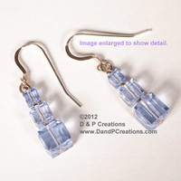 Swarovski Provence Lavender Crystal Cubes Sterling Silver Earrings