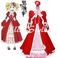 Black Butler Elizabeth Red Dress Elizabeth Cosplay Costume Halloween Cosplay Dress