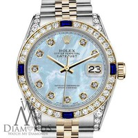 Rolex 36mm Datejust 2 Tone Baby Blue MOP Dial with Sapphire & Diamond Bezel