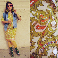 Vintage 60s Golden Paisley Silk Shift Shirt Dress Medium or Large