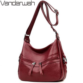 VANDERWAH Brand Soft Leather LUXURY bags handbags women famous brands Solid Double Zipper Bag casual Tote For women sac a main
