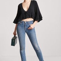 Plunging Ruffle Top