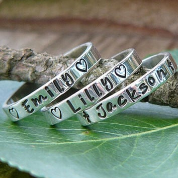 Stackable Rings, Name Rings, Personalized Rings, Mothers Rings