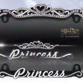 Princess Crown Crystal/Diamond Bling License Plate Frame