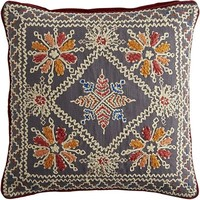 Boho Medallion Embroidered Pillow - Gray