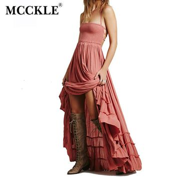 MCCKLE Women Sexy Backless Boho Beach Dress Summer Pleated Ruffles Party Hippie Dresses Backless Halter Bohemian Maxi Dress