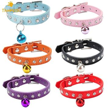 Hot Diamand Cat Collar Elastic Buckle Collars for Pet Cat Kitten Small Animals Collar With Bell Pets Supplies